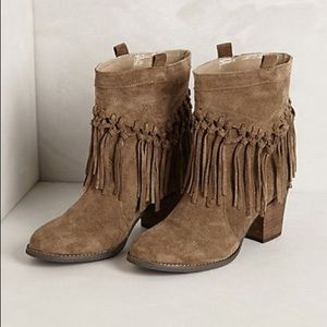 Anthropologie Fringe Booties size 7.5